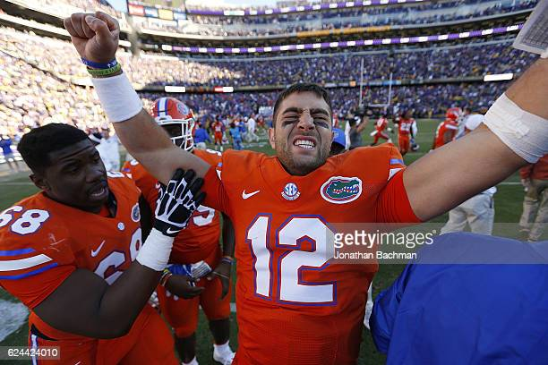 Austin Appleby of the Florida Gators celebrates after a game against the LSU Tigers at Tiger Stadium on November 19 2016 in Baton Rouge Louisiana...