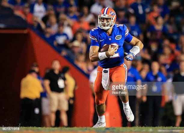 Austin Appleby of the Florida Gators in action during the second half of the game against the North Texas Mean Green at Ben Hill Griffin Stadium on...