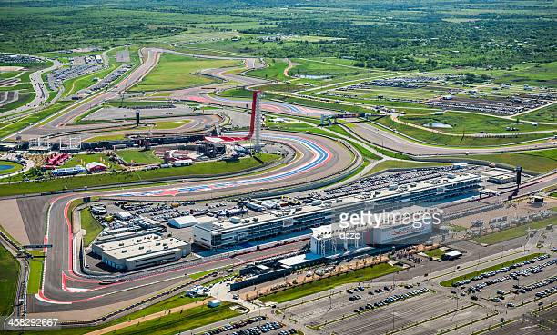 austin area aerial with motorsports race track in foreground - motor racing track stock pictures, royalty-free photos & images