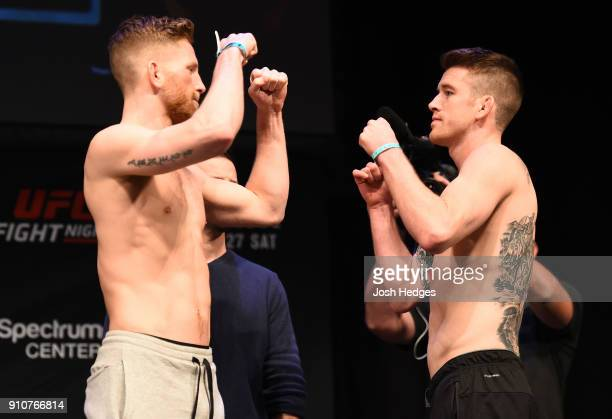 Austin Arnett and Cory Sandhagen face off during a UFC Fight Night weighin on January 26 2018 in Charlotte North Carolina