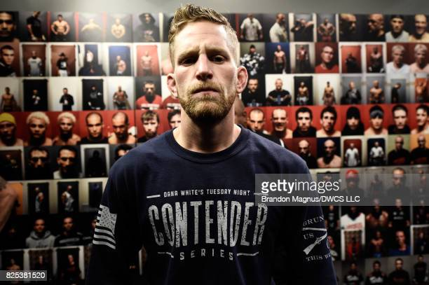 Austin Arnett prepares to enter the Octagon before facing Brandon Davis in their featherweight bout during Dana White's Tuesday Night Contender...