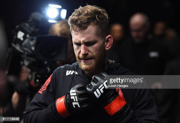 Austin Arnett prepares to enter the Octagon before facing Cory Sandhagen in their featherweight bout during a UFC Fight Night event at Spectrum...
