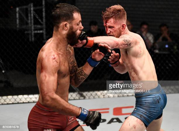 Austin Arnett punches Brandon Davisin their featherweight bout during Dana White's Tuesday Night Contender Series at the TUF Gym on August 1 2017 in...