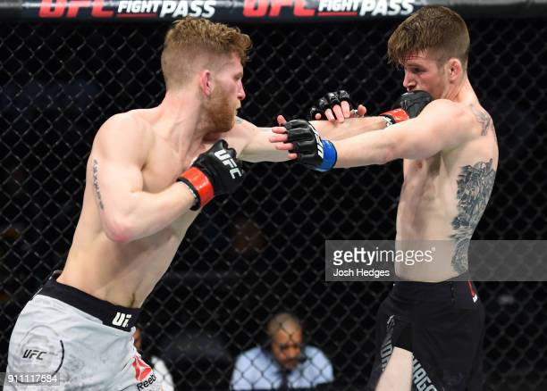 Austin Arnett punches Cory Sandhagen in their featherweight bout during a UFC Fight Night event at Spectrum Center on January 27 2018 in Charlotte...