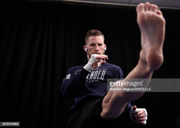 Austin Arnett warms up backstage during Dana White's Tuesday Night Contender Series at the TUF Gym on August 1 2017 in Las Vegas Nevada