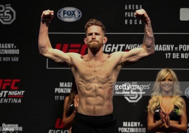 Austin Arnett weights in during UFC 140 Weight In at Parque Roca Arena on November 16 2018 in Buenos Aires Argentina
