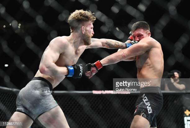 Austin ArnettShane Young lands a punch in his fight against Shane Young in their Featherweight fight during UFC234 at Rod Laver Arena on February 10...
