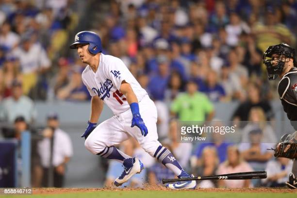 Austin Barnes of the Los Angeles Dodgers bats during the fifth inning against the Arizona Diamondbacks in game two of the National League Division...