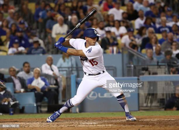 Austin Barnes of the Los Angeles Dodgers bats in the fifth inning during the MLB game against the San Diego Padres at Dodger Stadium on September 25...