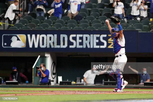 Austin Barnes of the Los Angeles Dodgers celebrates after defeating the Tampa Bay Rays 31 in Game Six to win the 2020 MLB World Series at Globe Life...