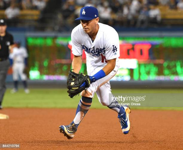 Austin Barnes of the Los Angeles Dodgers plays second base during the game against the Arizona Diamondbacks at Dodger Stadium on September 6 2017 in...