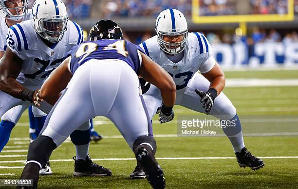 Austin Blythe of the Indianapolis Coltsn is seen during the game against the Baltimore Ravens at Lucas Oil Stadium on August 20 2016 in Indianapolis...