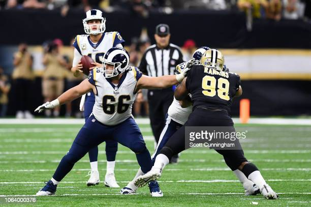 Austin Blythe of the Los Angeles Rams blocks against the New Orleans Saints at the Mercedes Benz Superdome on November 4 2018 in New Orleans Louisiana