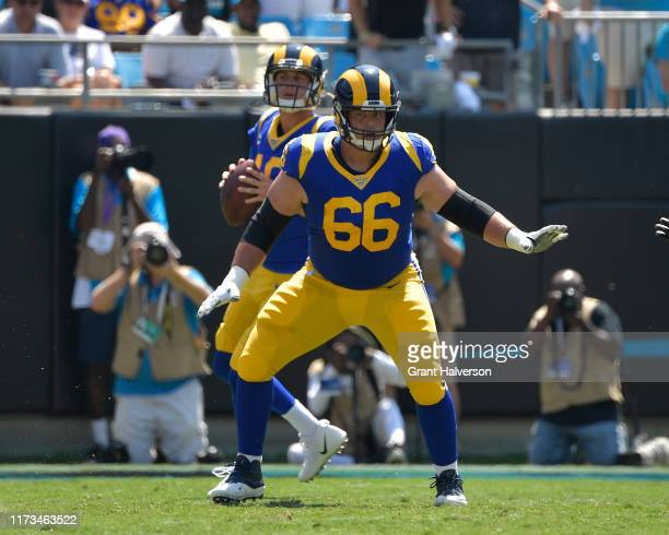 Austin Blythe of the Los Angeles Rams in action during their game against the Carolina Panthers at Bank of America Stadium on September 08 2019 in...