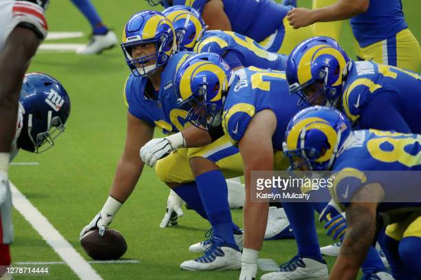 Austin Blythe of the Los Angeles Rams looks on before the snap during the second half against the New York Giants at SoFi Stadium on October 04 2020...