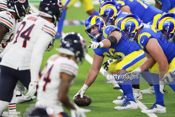 Austin Blythe of the Los Angeles Rams makes a call from the line of scrimmage in the fourth quarter against the Chicago Bears at SoFi Stadium on...