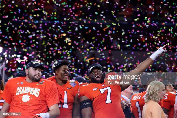 Austin Bryant of the Clemson Tigers celebrates with teammates after defeating the Notre Dame Fighting Irish during the College Football Playoff...