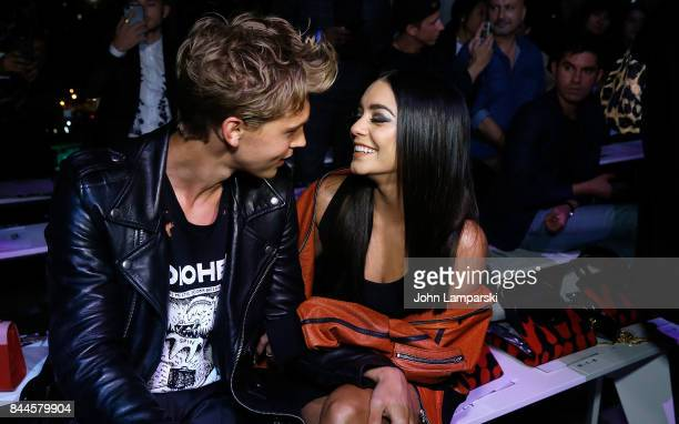 Austin Butler and Vanessa Hudgens attend Jeremy Scott collection during the September 2017 New York Fashion Week The Shows on September 8 2017 in New...