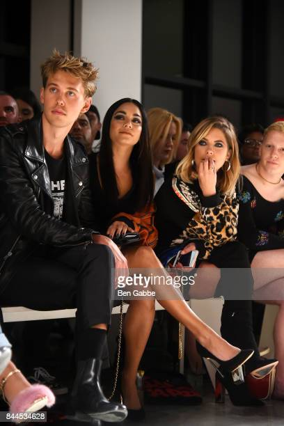 Austin Butler Vanessa Hudgens and Ashley Benson attend the Jeremy Scott Fashion Show during New York Fashion Week at Spring Studios on September 8...