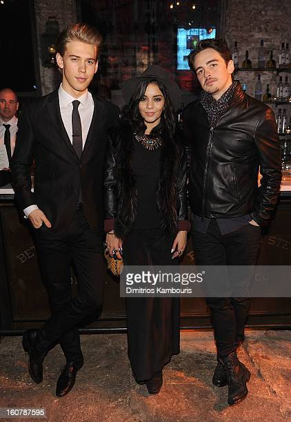 Austin Butler Vanessa Hudgens and Vincent Piazza attend the John Varvatos Celebration of The New JohnVarvatoscom on February 5 2013 in New York...