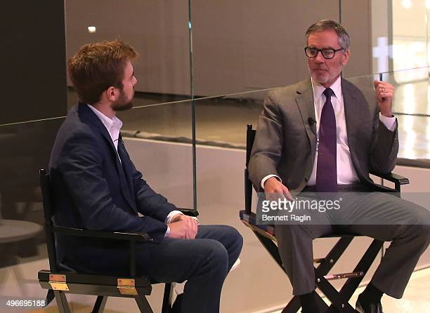 Austin Carr and Chairman and CEO of iHeartMedia Inc Robert Pittman speak at the iHeartMedia Hosts Future Of Entertainment Event During Fast Company's...
