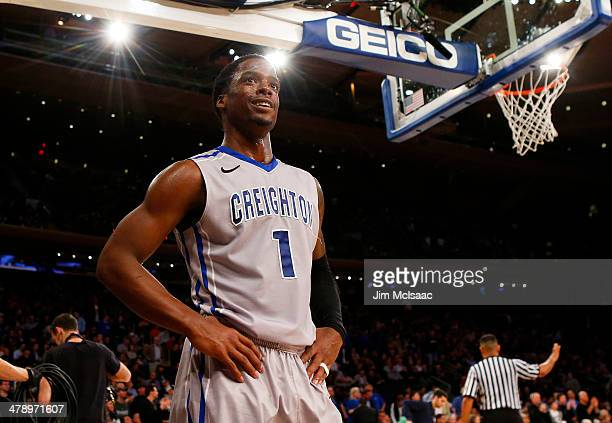 Austin Chatman of the Creighton Bluejays reacts in the first half against the Creighton Bluejays during the Championship game of the 2014 Men's Big...