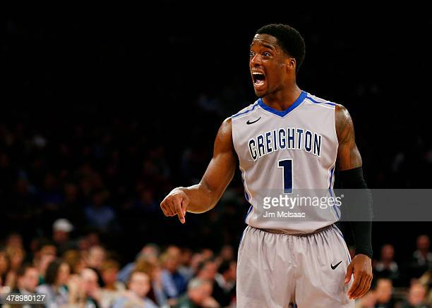 Austin Chatman of the Creighton Bluejays reacts in the seocnd half against the Providence Friars during the Championship game of the 2014 Men's Big...