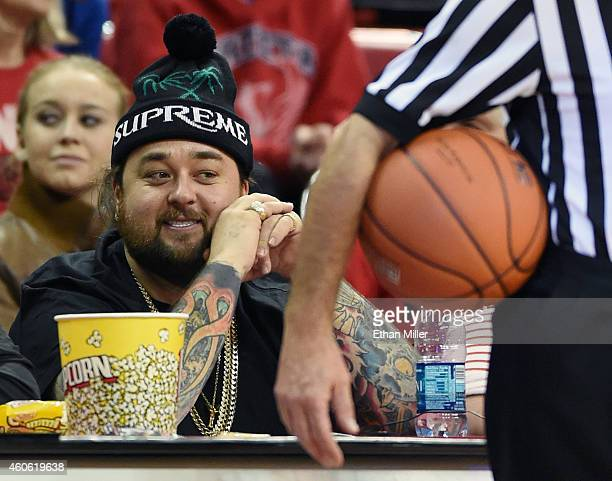 """Austin """"Chumlee"""" Russell from History's """"Pawn Stars"""" television series watches a game between the Portland Pilots and the UNLV Rebels at the Thomas &..."""
