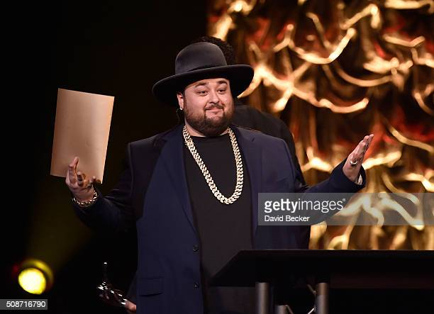 """Austin """"Chumlee"""" Russell from History's """"Pawn Stars"""" television series presents the Leading Man of the Year award at the eighth annual Fighters Only..."""