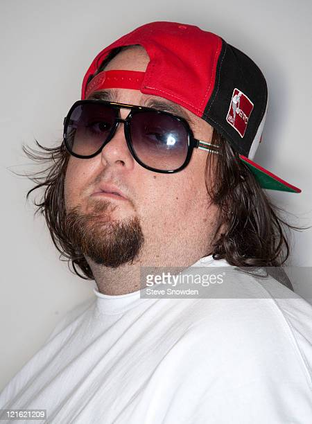Austin Chumlee Russell from the History Channel's hit reality show Pawn Stars poses backstage during his visit to Route 66 Casino's Legends Theater...