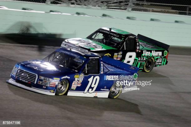 Austin Cindric and John Hunter Nemechek in turn 4 the Ford EcoBoost 200 at HomesteadMiami Speedway on November 17 2017 iin Homestead Florida