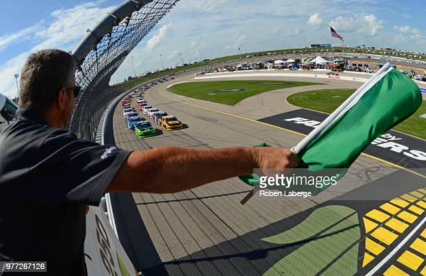 Joey Gase driver of the IowaDonorNtwk/PremierMillwright/SparksChevrolet drives his car during the NASCAR Xfinity Series Iowa 250 presented by Enogen...
