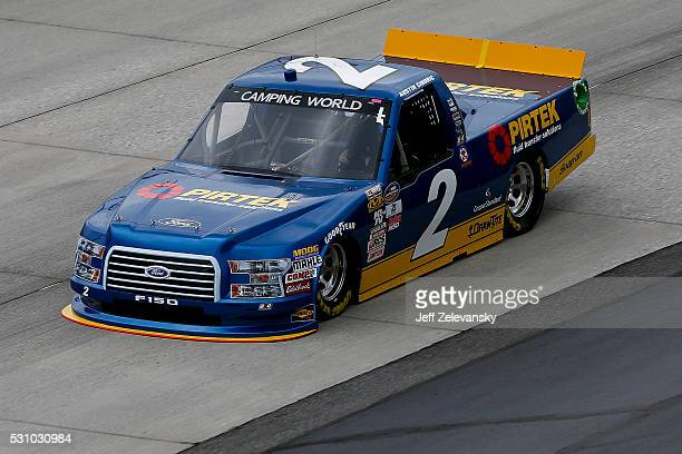 Austin Cindric driver of the Pirtek Ford practices for the NASCAR Camping World Truck Series at Dover International Speedway on May 12 2016 in Dover...