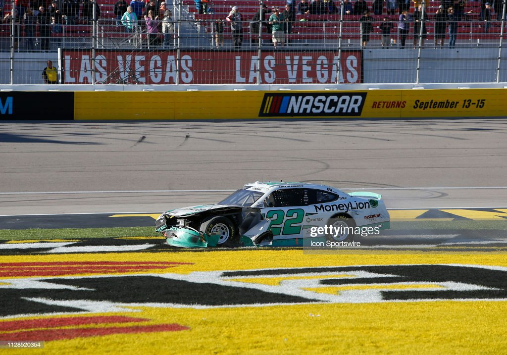 Austin Cindric Team Penske Ford Mustang crashes out of turn four