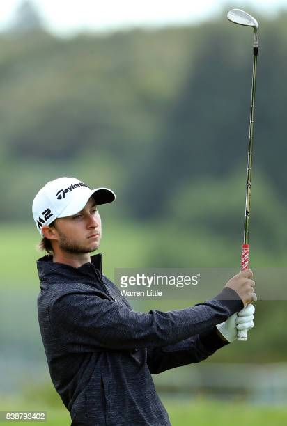 Austin Connelly hits his second shot on the first hole during day two of Made in Denmark at Himmerland Golf Spa Resort on August 25 2017 in Aalborg...