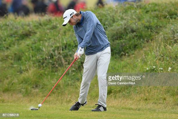 Austin Connelly of Canada hits an approach shot during the final round of the 146th Open Championship at Royal Birkdale on July 23 2017 in Southport...