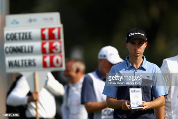 Austin Connelly of Canada looks on at the 14th hole during Day Four of the KLM Open at The Dutch on September 17 2017 in Spijk Netherlands