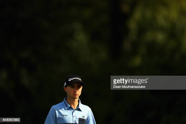 Austin Connelly of Canada looks on at the 15th hole during Day Four of the KLM Open at The Dutch on September 17 2017 in Spijk Netherlands