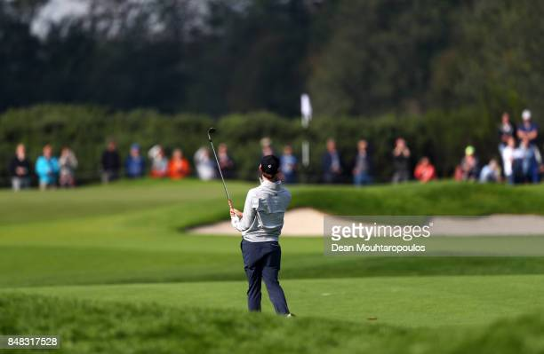 Austin Connelly of Canada plays his 2nd shot on the 1st hole during Day Four of the KLM Open at The Dutch on September 17 2017 in Spijk Netherlands