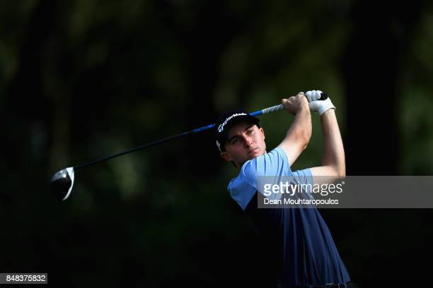 Austin Connelly of Canada tees off on the 15th hole during Day Four of the KLM Open at The Dutch on September 17 2017 in Spijk Netherlands