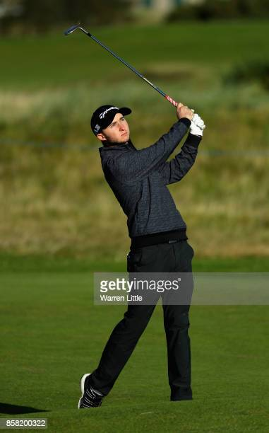 Austin Connelly of The United States plays his second shot on the 5th during day two of the 2017 Alfred Dunhill Championship at Carnoustie on October...