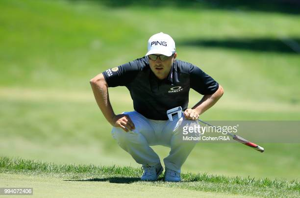 Austin Cook lines up his putt on the sixth green during the fourth and final round of A Military Tribute At The Greenbrier held on The Old White TPC...