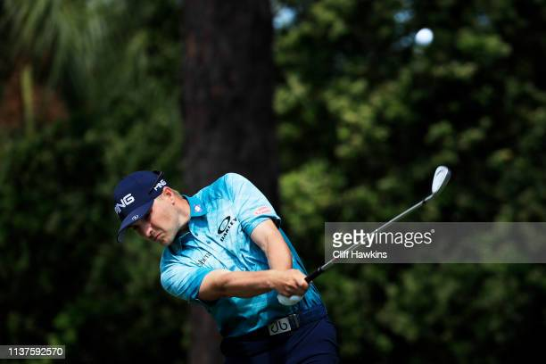 Austin Cook of the United States plays his shot from the 13th tee during the second round of the Valspar Championship on the Copperhead course at...