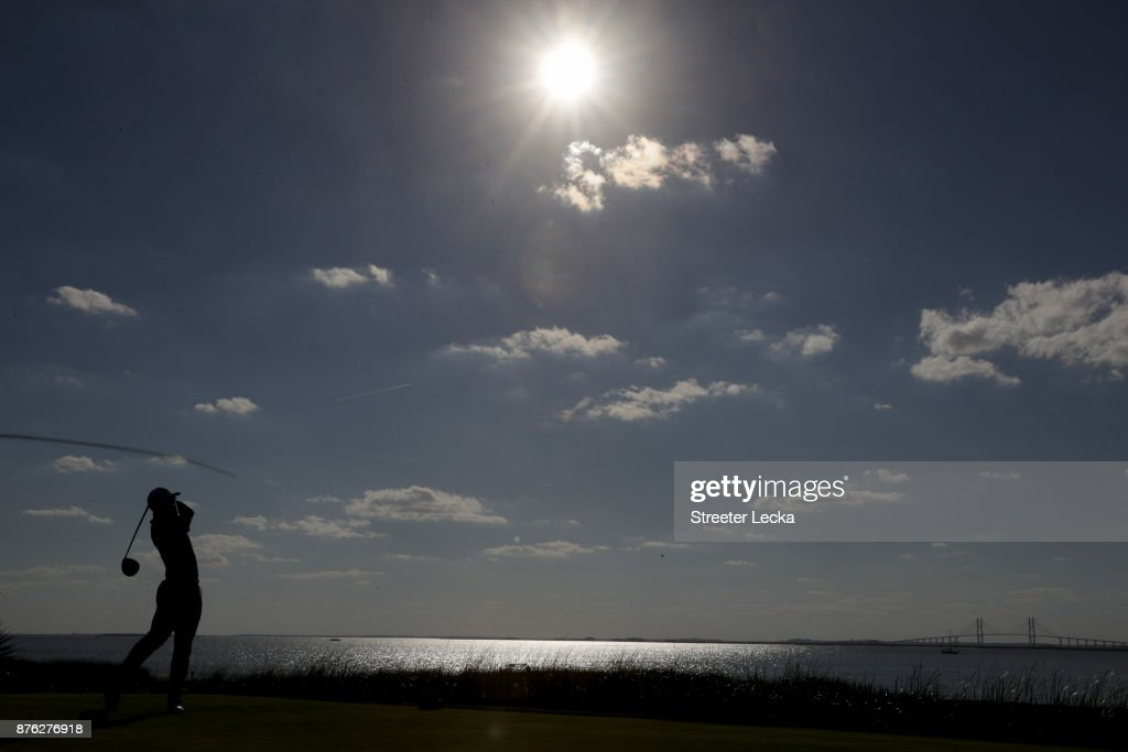 Austin Cook of the United States plays his shot from the 14th tee during the third round of The RSM Classic at Sea Island Golf Club Seaside Course on November 18, 2017 in St Simons Island, Georgia.