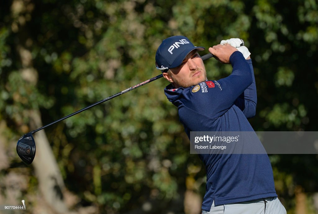 Austin Cook plays his shot from the second tee during the third round of the CareerBuilder Challenge at La Quinta Country Club on January 20, 2018 in La Quinta, California.
