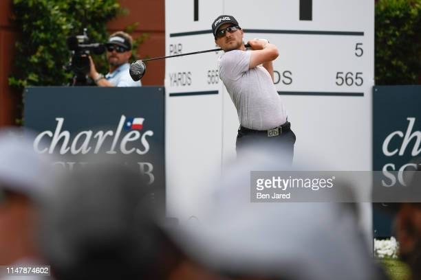 Austin Cook tees off on the first tee box during the final round of the Charles Schwab Challenge at Colonial Country Club on May 26 2019 in Fort...