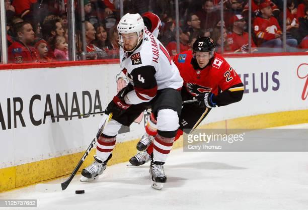 Austin Czarnik of the Calgary Flames battles against Niklas Hjalmarsson of the Arizona Coyotes at Scotiabank Saddledome on February 18 2019 in...
