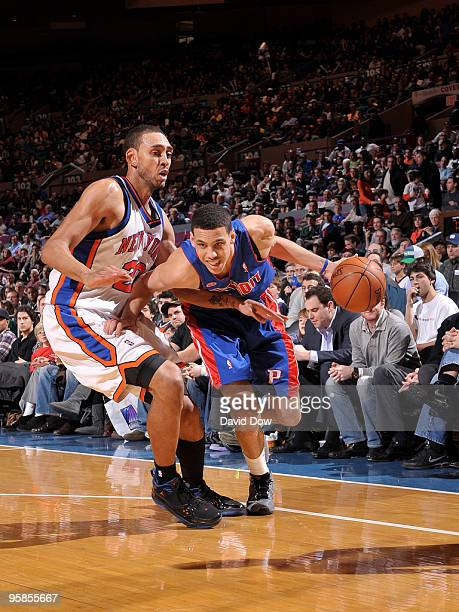 Austin Daye of the Detroit Pistons drives against Jared Jeffries of the New York Knicks during the game on January 18 2010 at Madison Square Garden...