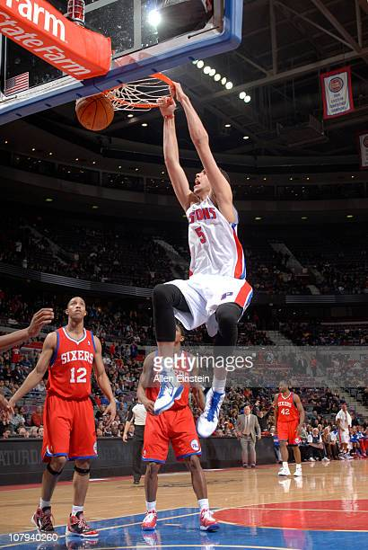 Austin Daye of the Detroit Pistons dunks against the Philadelphia 76ers in a game on January 8 2011 at The Palace of Auburn Hills in Auburn Hills...