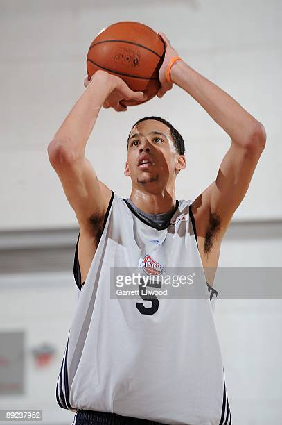 Austin Daye of the Detroit Pistons shoots a free throw during NBA Summer League presented by EA Sports against the New York Knicks on July 15 2009 at...